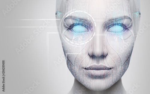 Beautiful cyborg female face with blue eyes. Wallpaper Mural