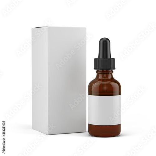 Small Dropper Bottle with a blank white label and blank white box - 3d rendering mock-up template Wallpaper Mural