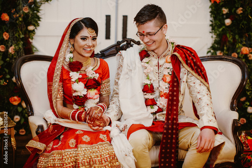 Fototapeta Happy indian brides rejoice in the day of their wedding obraz