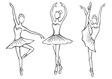 Set Of Hand Drawn Sketches Ballerinas Standing In Various Poses