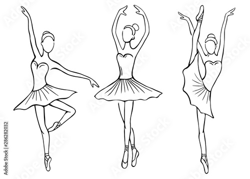 Set of hand drawn sketches ballerinas standing in various poses Wallpaper Mural