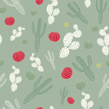 Christmas Desert Cactus Seamless Pattern In Shades Of Green, Ivory And Red. Sagauro And Barrel Cactus In All Over Print, Creative And Unique For Wrapping Paper, Textiles And Holiday Cards.
