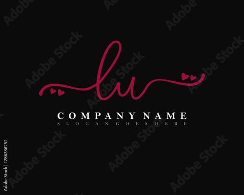 LU Initial handwriting, Feminine logo design template vector Fototapete