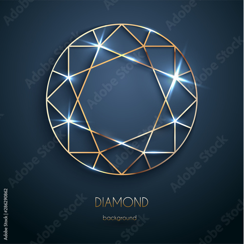 Abstract luxury template with golden diamond outlined shape - eps10 vector Canvas-taulu