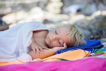 Toddler Sleeping On The Beach, Summer Relax