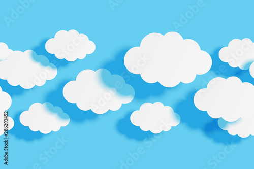 Poster Ciel Seamless border with paper clouds on blue sky background for Your design