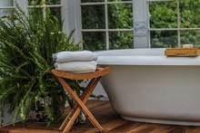 Large Soaking Tub In A White G...