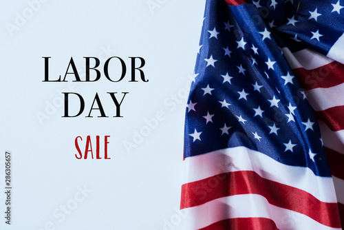 Canvas Prints Amsterdam american flags and text labor day sale