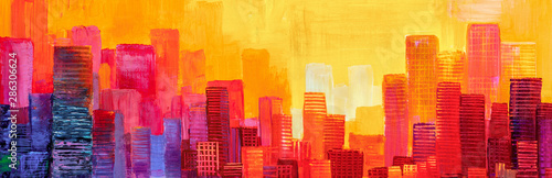 Foto auf AluDibond Rot Abstract painting of urban skyscrapers.