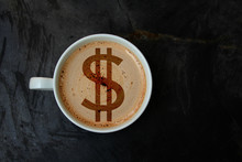 White Cup With Cappuccino And Foam In The Form Of A Picture Dollar, Top View, Close-up, Copy Space