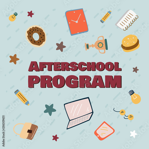 Advertising banner afterschool program cartoon. Wallpaper Mural