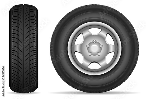 Fotomural Car tires isolated on white background
