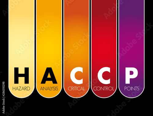 Cuadros en Lienzo  HACCP - Hazard Analysis and Critical Control Points acronym, concept background
