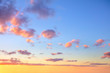 canvas print picture - Gentle colors of  sunrise sundown sky with colorful small clouds