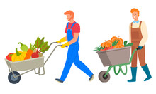 Harvesting Season Vector, Isolated People Pushing Carts With Vegetables. Beetroot And Pumpkin, Tomato And Potato, Veggies Organic Production Of Farm. Flat Cartoon