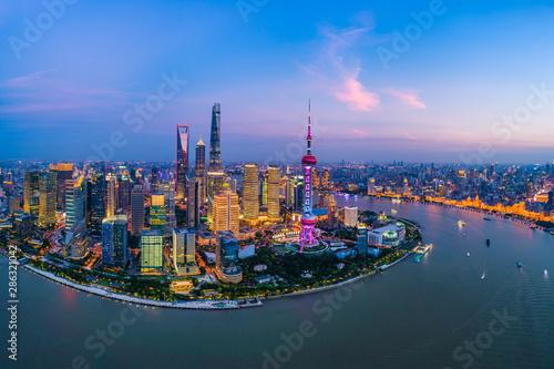 Foto auf Leinwand Shanghai Aerial panoramic view of Shanghai skyline at night,China.