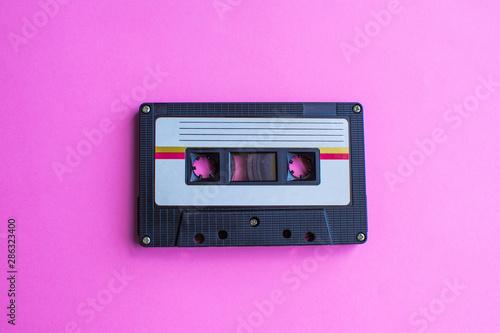 Slika na platnu retro of tape cassette on yellow background. soft focus.