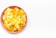 Potato Crisps In Bowl On White...