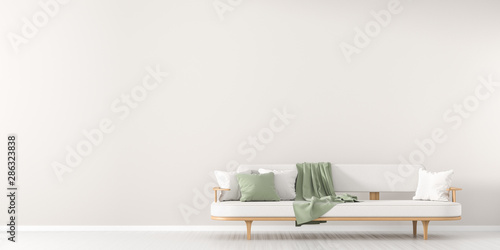 Obraz White, empty wall mock up in Scandinavian style interior with white couch. Minimalist interior design. 3D illustration. - fototapety do salonu