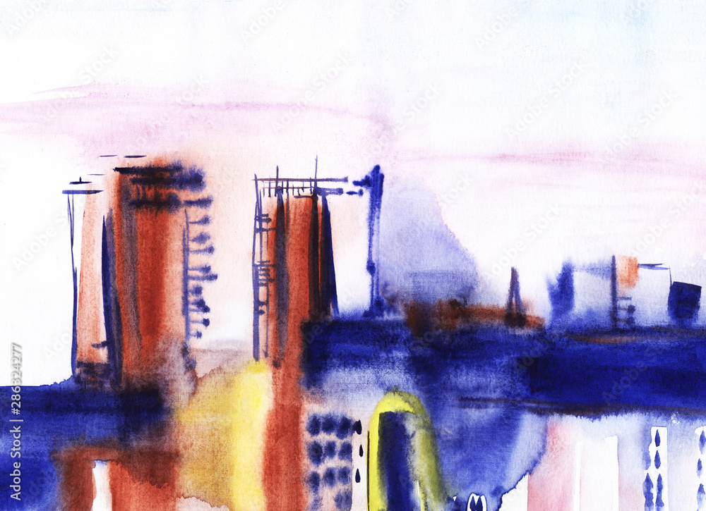 Watercolor city landscape on wet paper. Blurred outlines of high buildings. Modern art made in blue, brown and delicate lilac shades. Hand drawn abstract painting