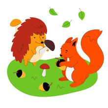 Hedgehog And Squirrel - Flat D...