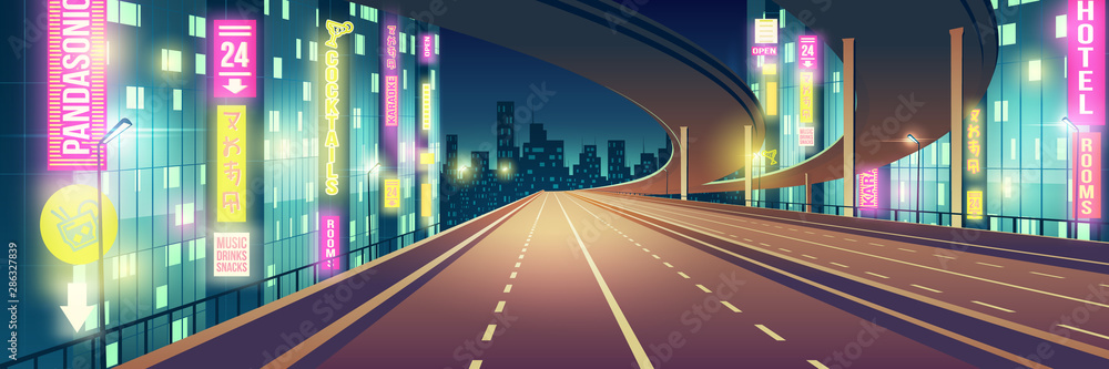 Fototapeta Night metropolis empty, four-lane highway, freeway road illuminated with restaurants, hotel, road and karaoke bar neon colors signboards cartoon vector background. Modern city nightlife background