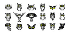 Cute Owls Collection, Black Si...