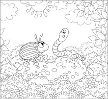 Striped Colorado Potato Beetle And A Funny Worm Friendly Talking On A Green Glade Of A Forest On A Sunny Summer Day, Black And White Vector Illustration In A Cartoon Style For A Coloring Book