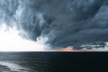 Dark Storm Clouds Moving In Across Lake Michigan