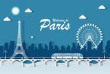 Fototapeta Fototapety z wieżą Eiffla - illustration eiffel tower landmarks of paris. paper cut style