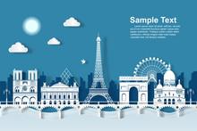 Illustration Eiffel Tower Landmarks Of Paris. Paper Cut Style