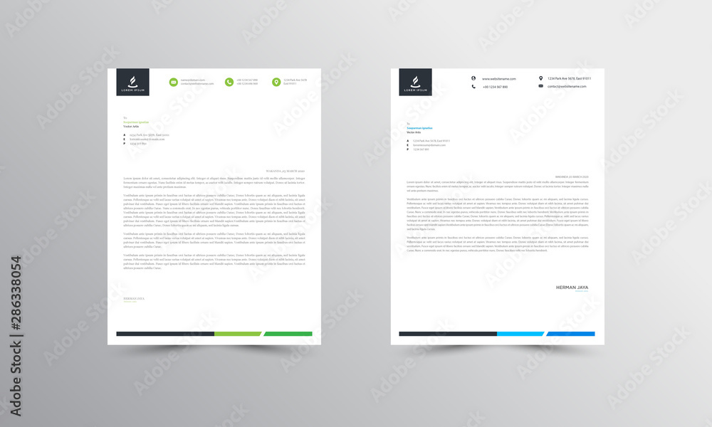 Fototapeta green and blue Abstract Letterhead Design Template - vector