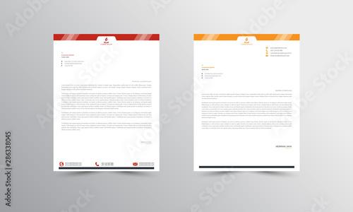 Fototapeta red and orange Abstract Letterhead Design Template - vector obraz
