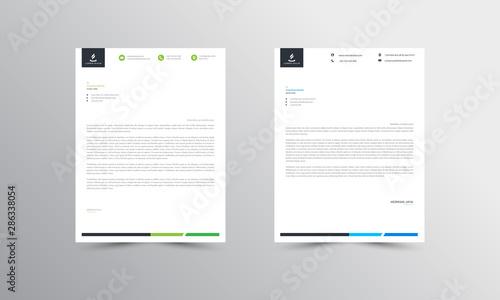 Fototapeta green and blue Abstract Letterhead Design Template - vector obraz