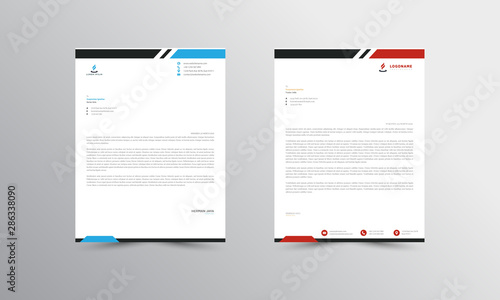 Fototapeta red and blue  Abstract Letterhead Design Template - vector obraz