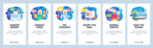 Mobile App Onboarding Screens. Help Animals, Dogs Shelter, Animal Rights, Donate Money. Menu Vector Banner Template For Website And Mobile Development. Web Site Design Flat Illustration