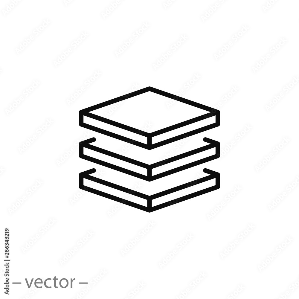 Fototapeta 3 layer icon, stack level, height floor thin line web symbol on white background - editable stroke vector illustration eps10