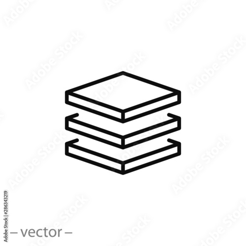 Fotografia 3 layer icon, stack level, height floor thin line web symbol on white background