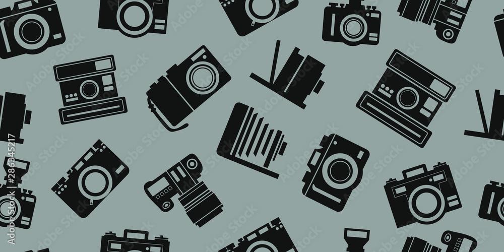Fototapeta new and old camera background seamless pattern