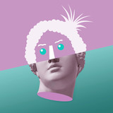 Kolaż koncepcyjny sztuki współczesnej z zabytkową głową w surrealistycznym stylu. Nowoczesna sztuka niezwykła. - 286346239