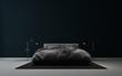 Leinwanddruck Bild - modern black elegant bedroom interior design and black wall background