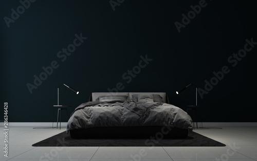modern black elegant bedroom interior design and black wall background