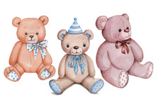 Cute Cartoon Teddy Bear, Set O...