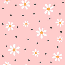 Floral Seamless Pattern. Cute Print With Daisies And Round Spots. Vector Illustration.