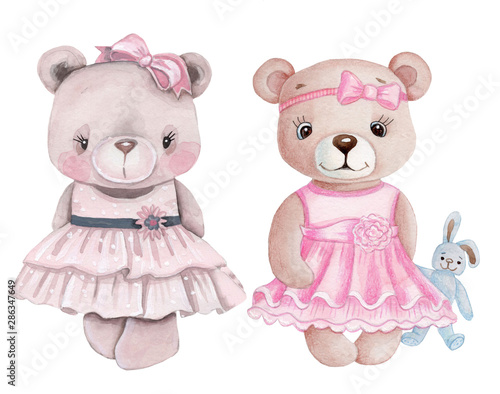 Two cute teddy bear girls in pink dresses. Watercolor hand drawn illustration, isolated.