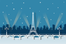 Illustration Of Paris Night In The Winter. Paper Cut Style