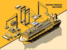 Water Freight Delivery, Yellow Isometric Line Art Vector Concept. Sea Port, River Dock With Cranes Unloading Cargo Barge Or Ship With Containers. Export Import Logistics, International Cargo Shipment