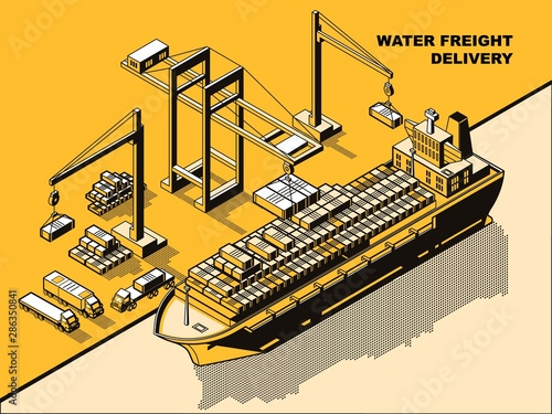 Water freight delivery, yellow isometric line art vector concept Canvas Print