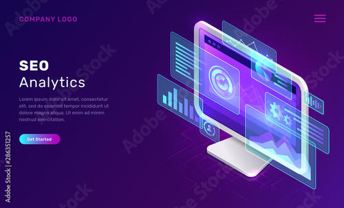 SEO or search engine optimization analytics, concept vector isometric illustration Wallpaper Mural