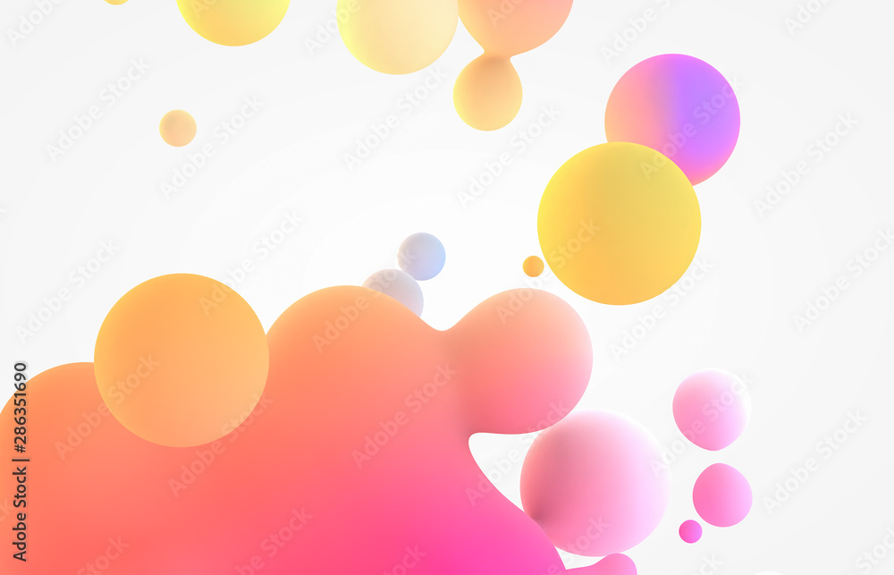 Abstract colorful 3d art background. Holographic floating liquid blobs, soap bubbles, metaballs.